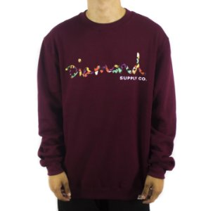 MOLETOM CARECA DIAMOND OG SCRIPT FASTEN CREWNECK - BURGUNDY