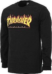 Camiseta Manga Longa Thrasher Flame Logo Black Long Sleeve