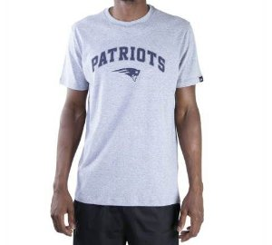 CAMISETA NEW ERA NFL NEW ENGLAND PATRIOTS ESSENTIALS ONE - MESCLA CINZA CLARA