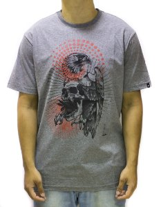 CAMISETA REGULAR MCD EAGLE SKULL - CINZA MESCLA