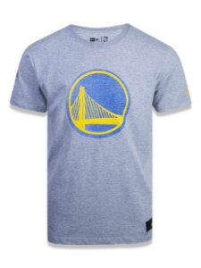 CAMISETA NBA GOLDEN STATE WARRIORS DENIM LOGO MESCLA CLARA