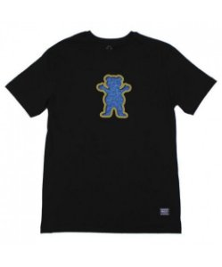 CAMISETA GRIZZLY OG STAMPED SWIMMER BEAR FOOTBALL - BLACK