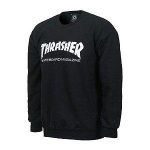 MOLETOM CARECA THRASHER SKATE MAG CREWNECK - BLACK