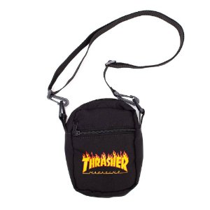Shoulder Bag Thrasher Magazine Flame Logo Preta