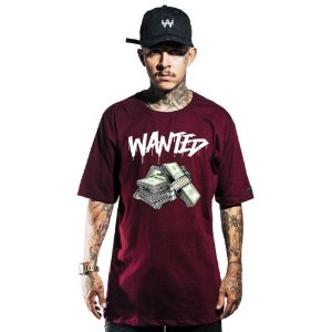 CAMISETA WANTED – AUTHENTIC - BORDO