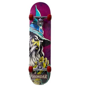 "SKATE HONDAR MONTADO IMPORTADO PRO WIZARD MAGO2 RED - NEW ""MAPLE"" "" BRILHA NO ESCURO """