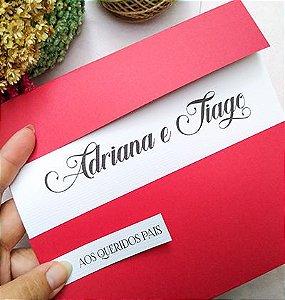 Convite de casamento tons de vermelho