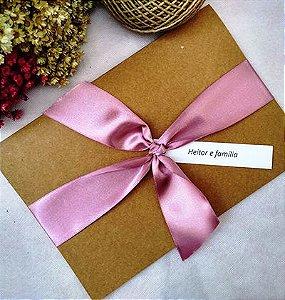 Convite de Casamento rústico tom de rosa