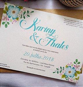 Convite de Casamento rústico verde tiffany