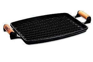 Chapa grill alça madeira / 33 x 25cm