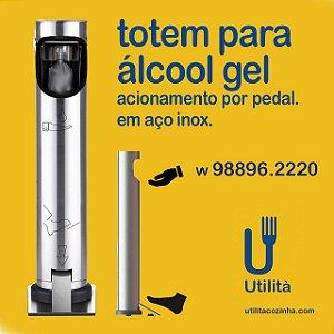 Totem para álcool gel / inox / h 1,2m / acionamento por pedal