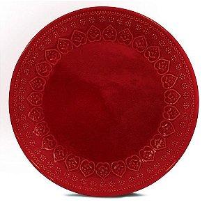 Corona Prato Raso Relieve Vermelho 26cm