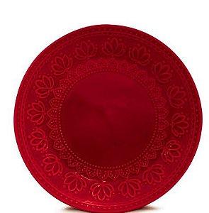 Corona Prato Sobremesa Relieve Vermelho 20cm
