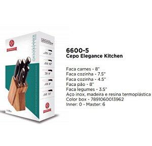 Jogo Facas Elegance Kitchen Mundial Gourmet com Cepo 5 peças