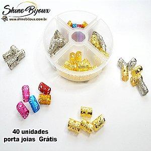 Anel Para Tranças Box Braids kit 40 unidades porta joias  Grátis