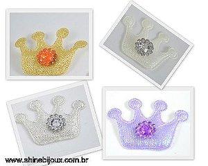 Coroa de Tecido com 4 Pontas + Chaton Redondo 40x30mm Shine Beads®