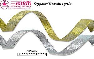 Fita Sanding® Organza Gliterizada  Nº02/2 (12mm) prata ou dourada