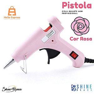 Aplicador Pistola  cola quente 60w Profissional  Bivolt com botão Liga desliga Rosa.