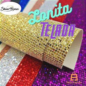 Lonita Telada Flocada  24x40cm tecido Glitter para laços chinelos bolsas