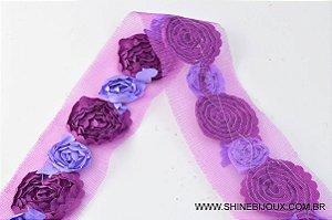Guipir renda com Flor de cetim 35mm