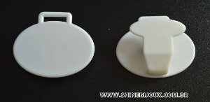 Prendedor Clip para chupetas e crachás oval 40mm acrílico Shine Beads®