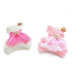 Aplique Urso com chaton coração 6,5x5cm Shine Beads®