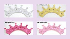 Coroa Aplique Glitter Seis pontas 14x5cm Shine Beads