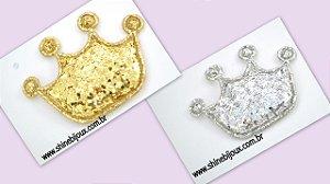 Coroa Aplique Glitter Flocada 4 pontas 6x3cm Shine Beads