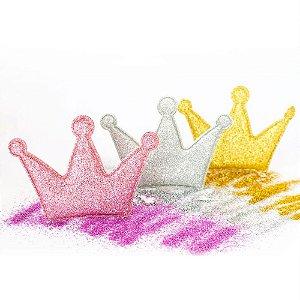 Coroa Aplique Glitter 3 pontas 5x4cm Shine Beads®
