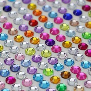 Strass Cartela auto colante 6mm acrílico Shine Beads®