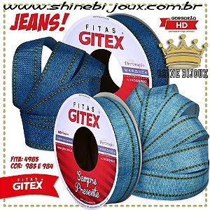 Fita gorgurão estampa Jeans pontilhado Gitex® N˚05 / 09 azul claro e escuro