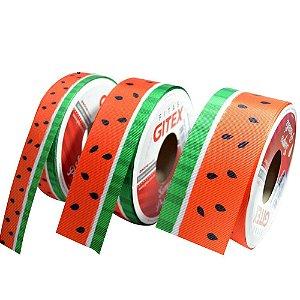 Fita gorgurão estampa melancia  Gitex® N˚05 (23mm)   ou N˚09 (38mm)