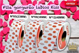 Fita gorgurão estampa Labios kiss  Gitex® N˚05 / 09 / 12