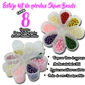 Estojo margarida Kit de perolas Shine Beads 8 divisórias cheias C/ Perolas inteiras 08mm