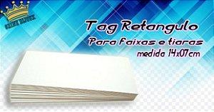 Tag retangulo papelão para faixinhas  e laços 14x07cm