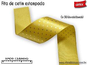 Fita de cetim Estampada Poa metalizada Gitex N°09(38MM)