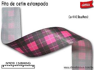 Fita cetim estampa xadrez Gitex®  Nº09(38mm)