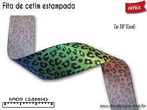Fita cetim estampa leopardo Gitex®  Nº09(38mm)