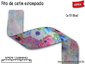 Fita cetim estampa Floral provencal Gitex®  Nº09(38mm)
