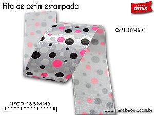 Fita cetim estampa bolas Fluorescente  Gitex®  Nº09(38mm) (Brilha no escuro)