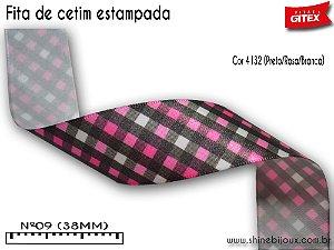 Fita cetim estampa xadrez cruzado Gitex®  Nº09(38mm)