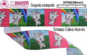 Fita Sanding® Gorgurão estampa cabra arco iris  Nº09 /38mm