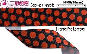 Fita Sanding® Gorgurão estampa Ladybug Nº09 /38mm