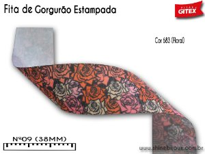Fita gorgurão estampa Rosas Gitex® N˚09 (38mm)