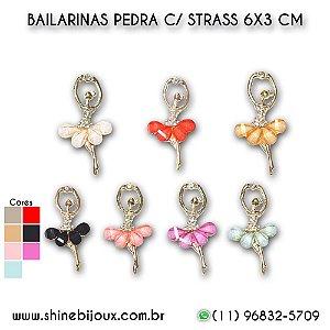 Bailarina pingente de pedra metal banhado com strass 6X3CM Shine Beads®