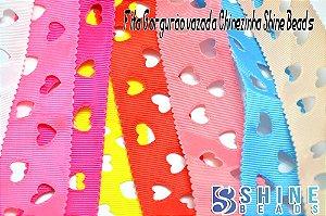 Fita gorgurão Chinezinha estampa coração vazada Shine Beads 35mm (3.5cm) Nº8.5