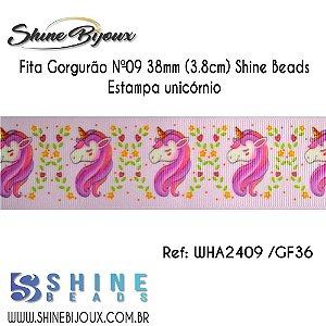 Fita gorgurão Chinezinha estampa Unicórnio Shine Beads Nº9  38mm (3.8cm)