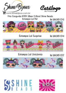 Fita gorgurão Chinezinha estampa Lol Surprise Shine Beads Nº9  38mm (3.8cm)