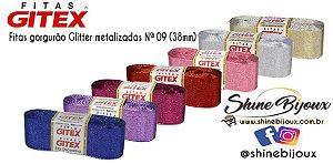 Fita Gorgurão Glitter metalizada Gitex  Nº 09 ( 38mm)