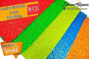 Lonita Glitter Flocada Neon Fluorescente 24x40cm